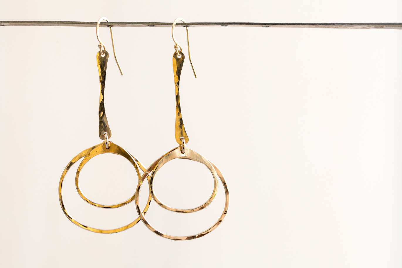 Double Hiness Rustic Dangle Hoop Earrings Hammered Gold