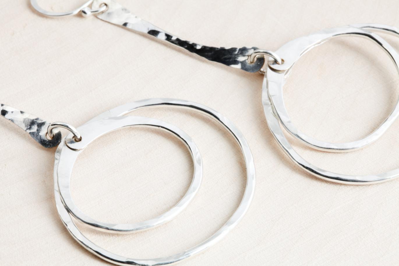 Double Hiness Rustic Dangle Hoop Earrings