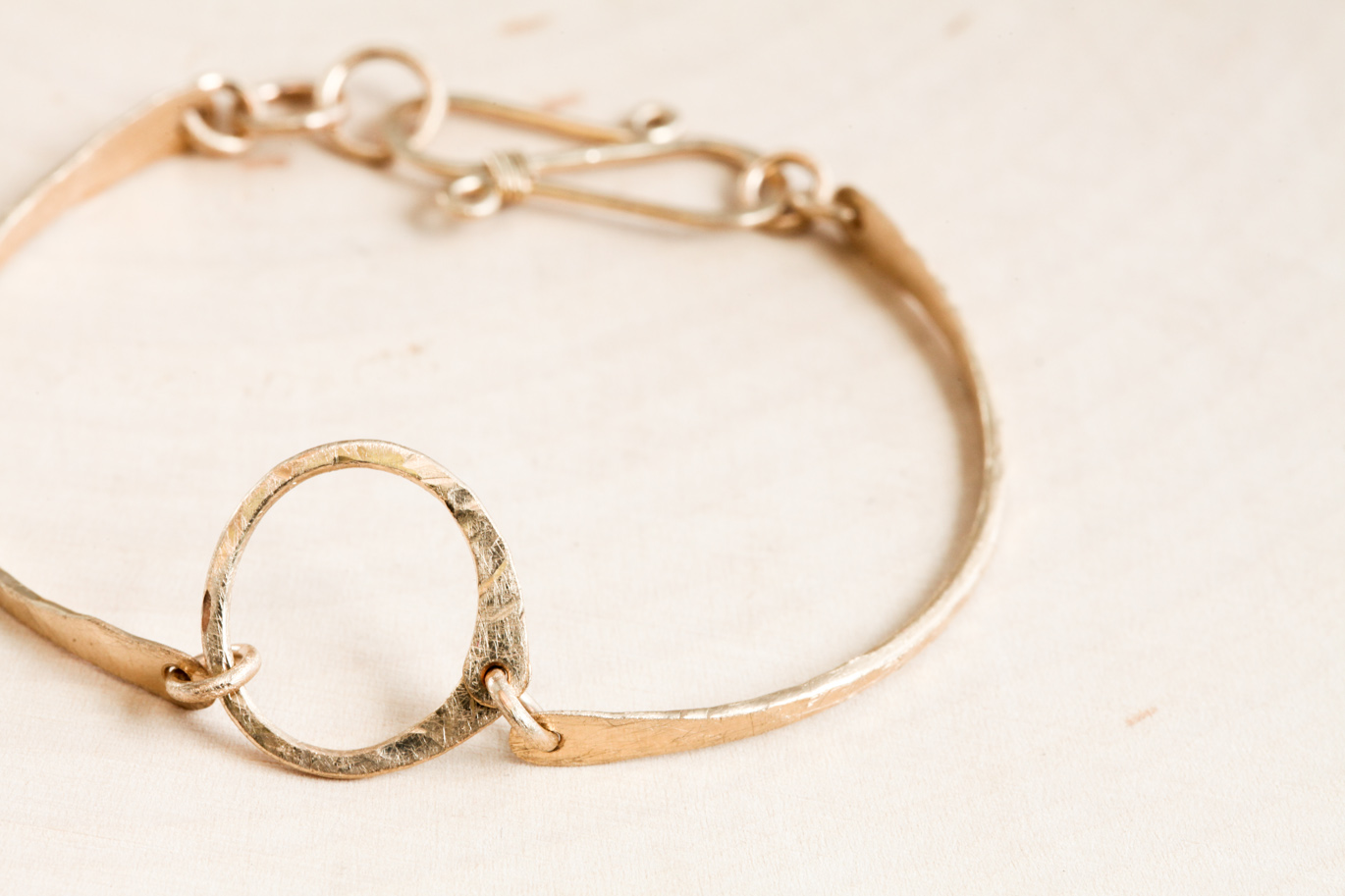 Simple Zen Circle Handmade Small Circle Bracelet Hammered Gold