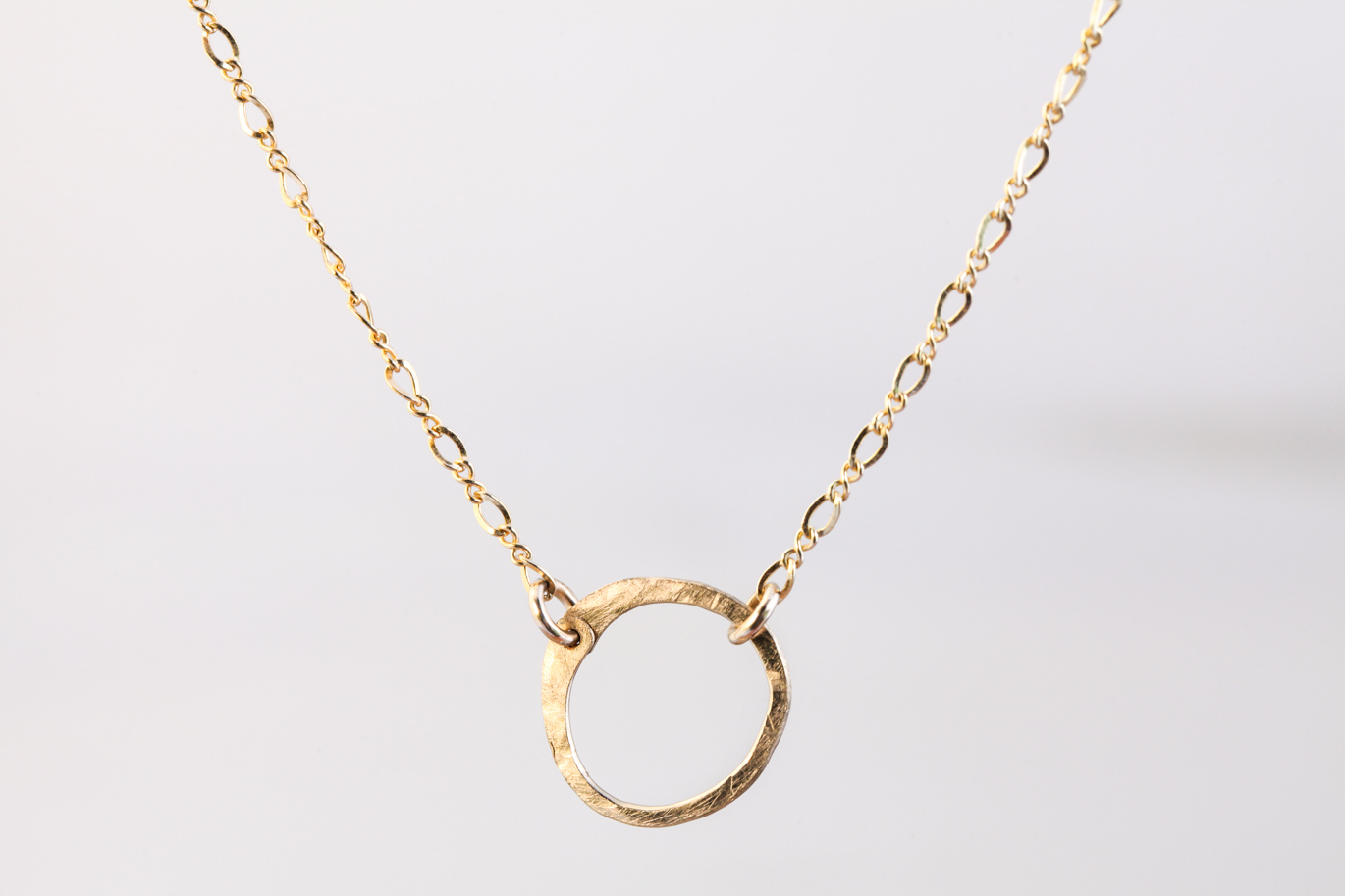 Simple zen circle rustic minimalist circle necklace for Minimal art jewelry