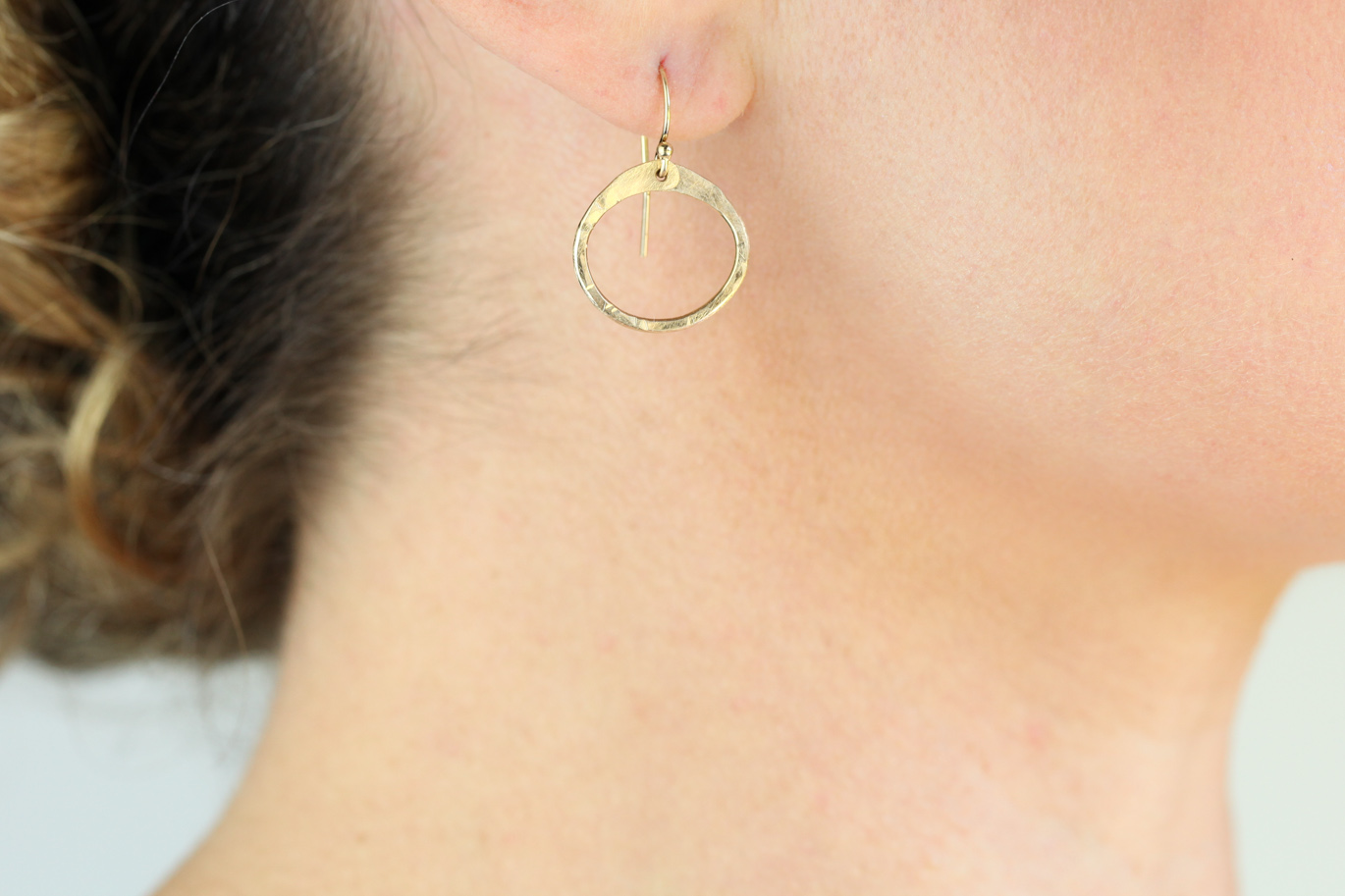 Simple Zen Circle Small Drop Hoop Earrings Hammered Gold