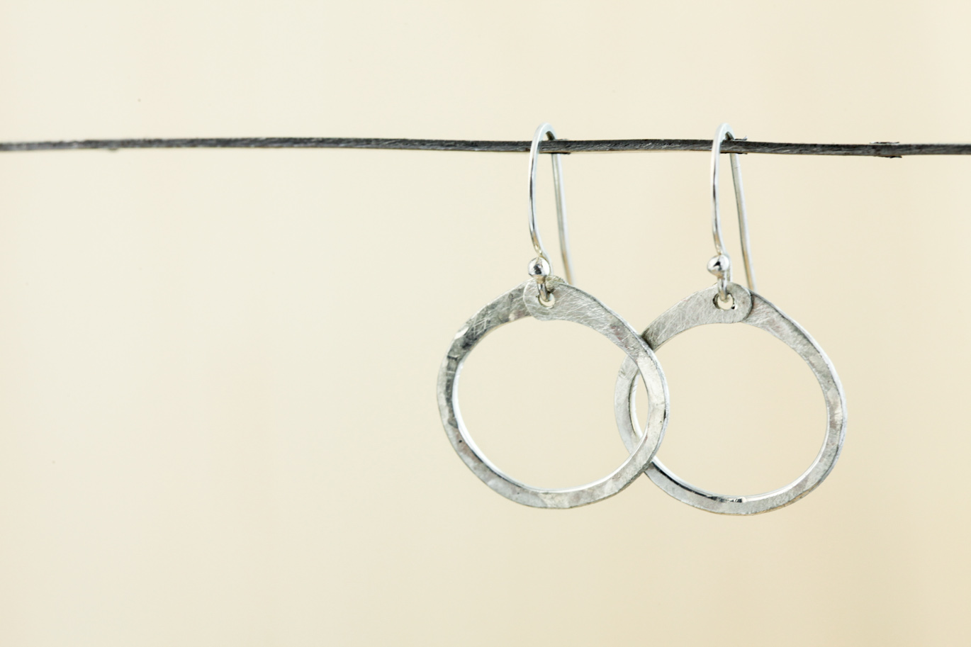 68cc8aaa8 Simple Zen Circle - Small Drop Hoop Earrings - Hammered Silver ...