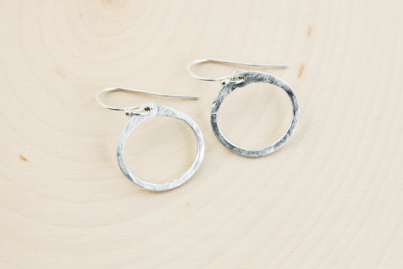 Simple Zen Circle Small Drop Hoop Earrings Hammered Silver