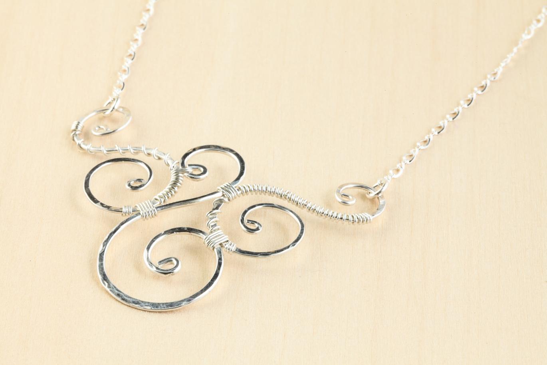 Trio - Handmade Wire Wrapped Spirals Necklace - Hammered Silver ...