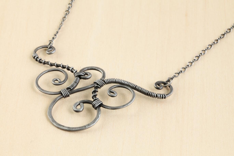Trio - Handmade Wire Wrapped Spirals Necklace - Hammered Steel-Iron ...