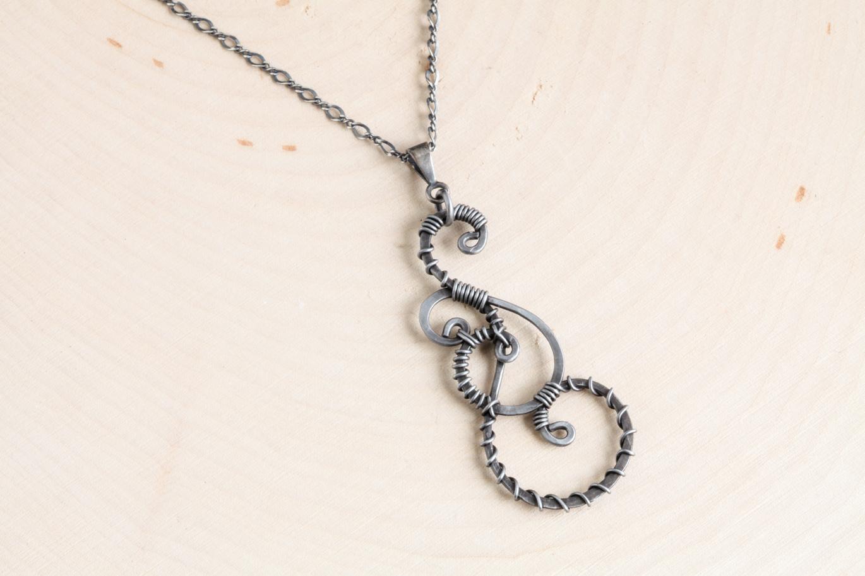 Twisted teardrop wire wrapped pendant necklace hammered steel twisted teardrop wire wrapped pendant aloadofball Gallery