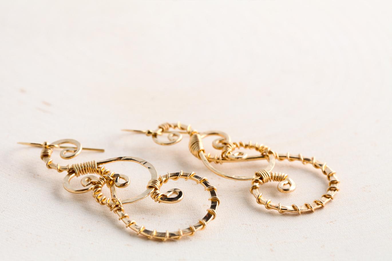 Twisted Teardrop - Wire Wrapped Teardrop Earrings - Hammered Gold ...