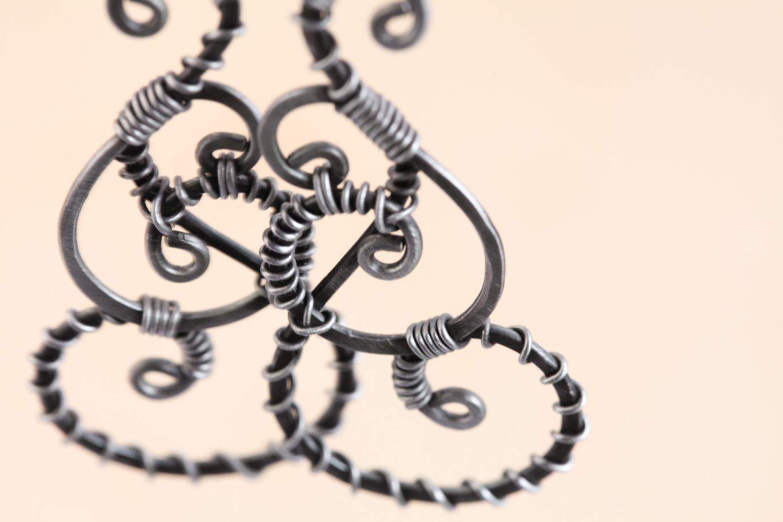 Twisted Teardrop - Wire Wrapped Teardrop Earrings - Hammered Steel ...
