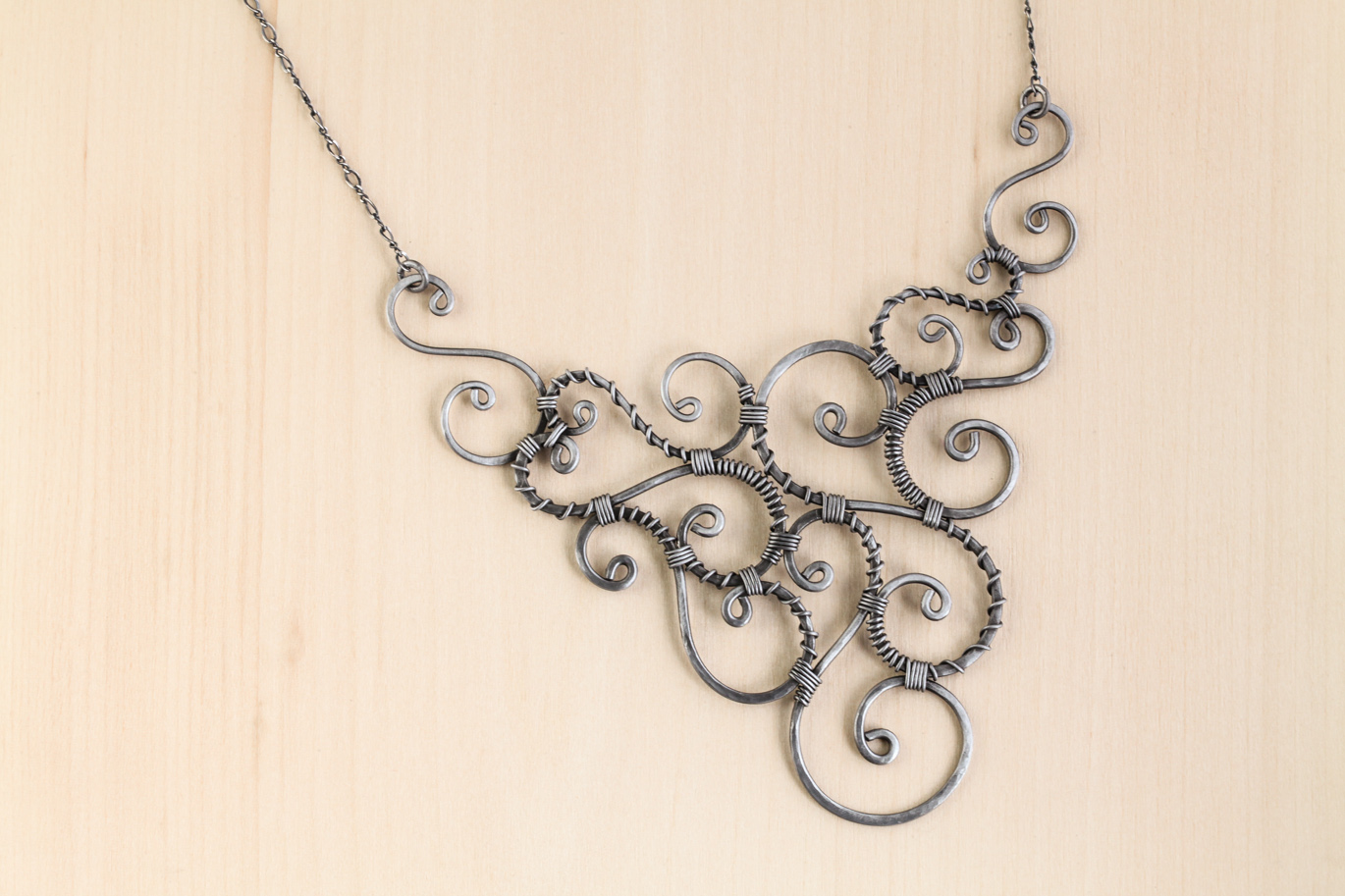 Urban Whimsy - Wire Wrapped Spirals Statement Necklace - Hammered ...