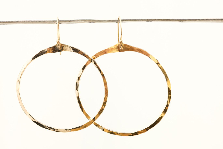 Zen Circle Handcrafted Drop Hoop Earrings Hammered Gold