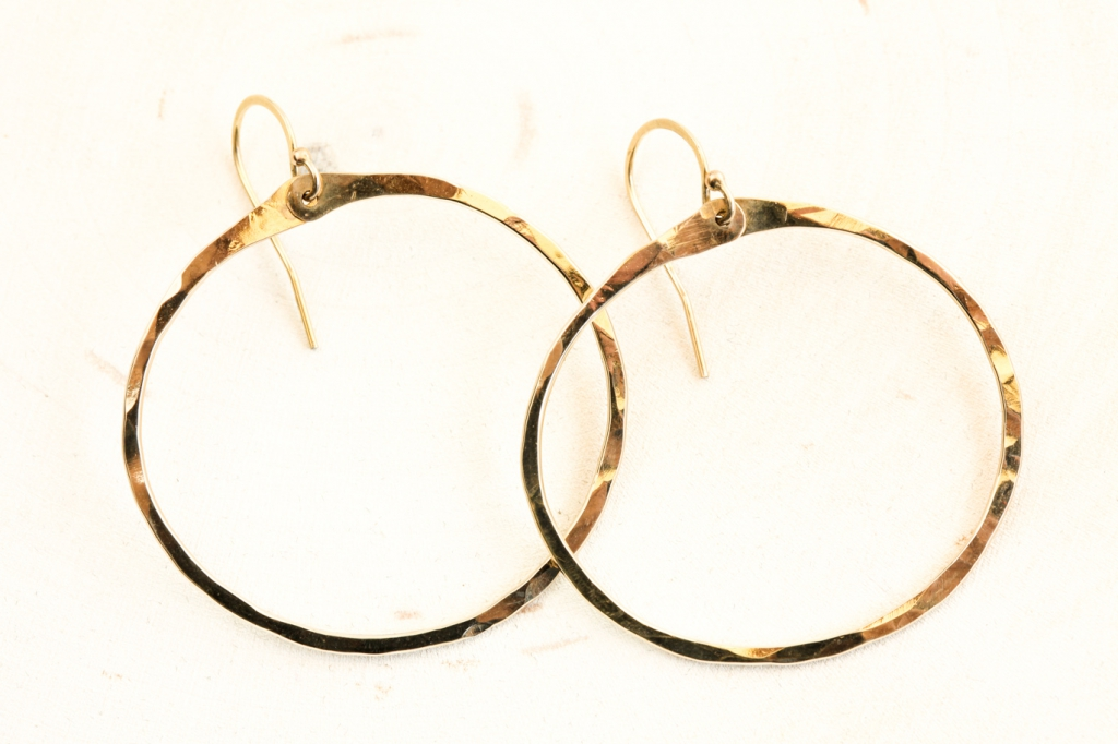 Zen Circle Handcrafted Drop Hoop Earrings Hammered