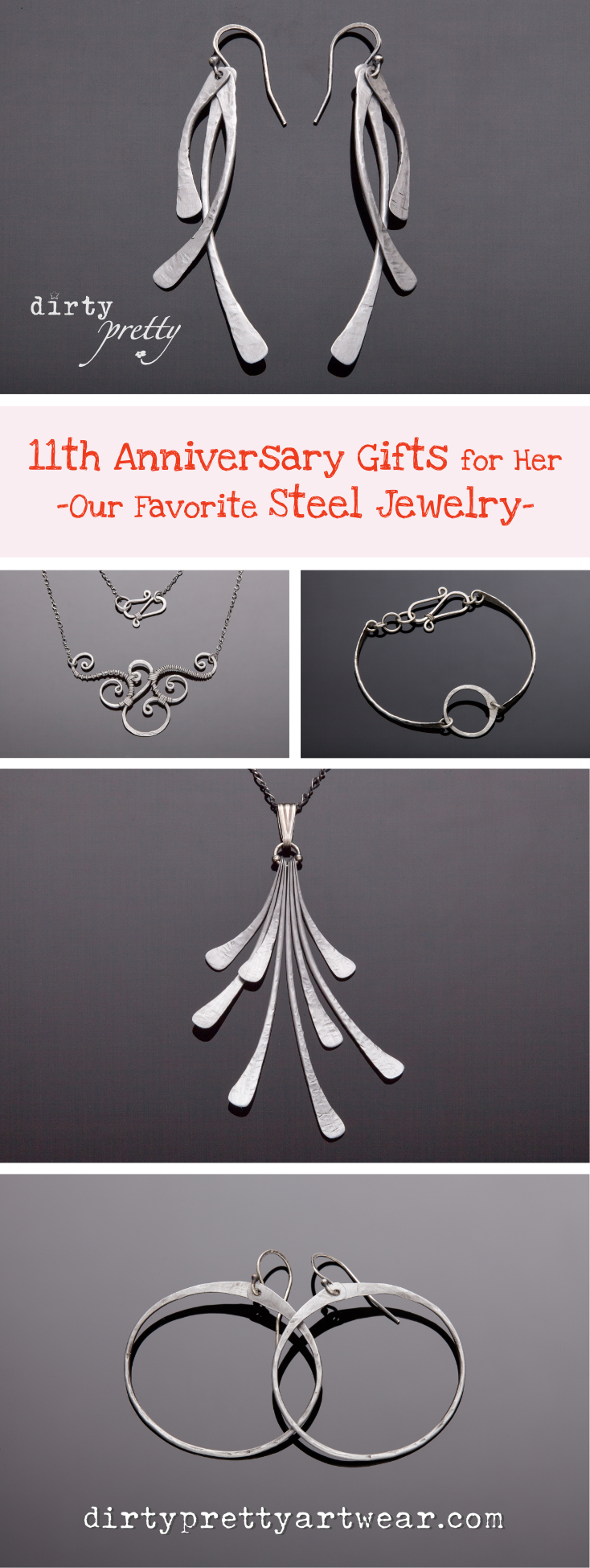 Time to find an 11th anniversary gift for the one you love? Look no farther dirtypretty artwearu0027s specialty is steel 11th anniversary gifts for her. & 11th Anniversary Gift - Steel Jewelry by dirtypretty artwear ...