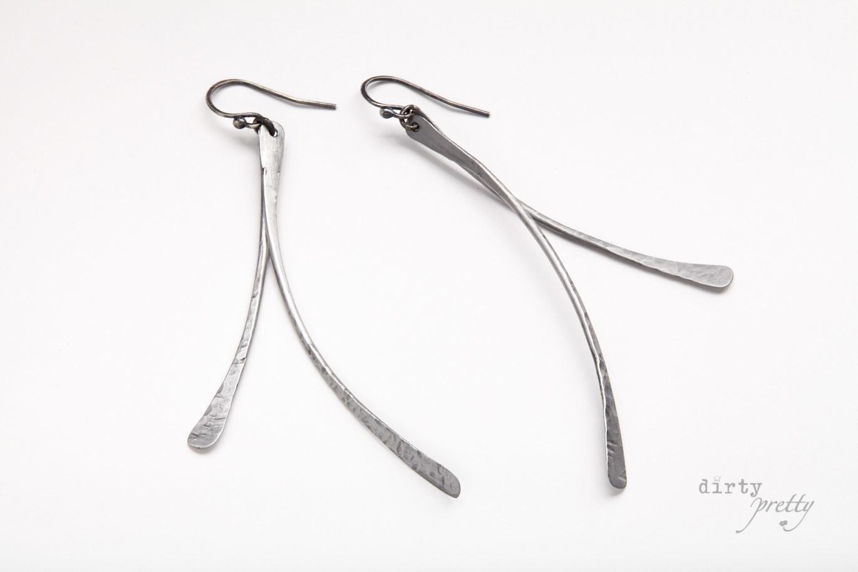 11th anniversary gift-Leaf Earrings Steel-dirtypertty artwear