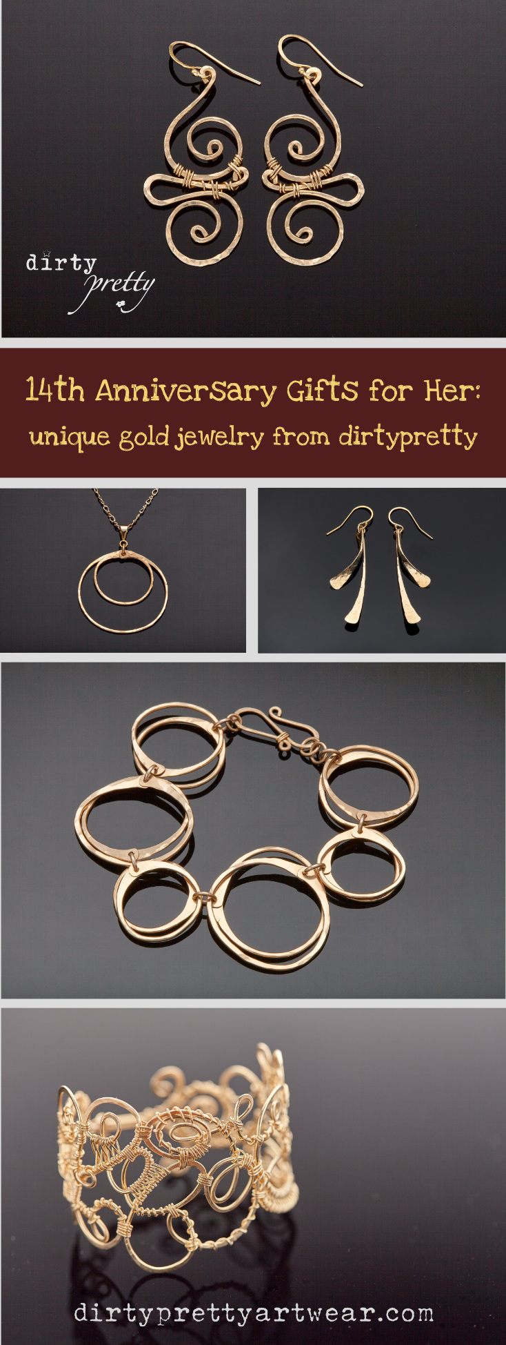 Looking For Unique 14th Anniversary Gifts Her Dirtypretty Artwear S Gold Jewelry Is The Perfect Wedding Gift Your Wife Or