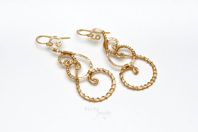 Anniversary Gifts for wife - Twisted Teardrop Gold Earrings by dirtypretty artwear - gifts for wife