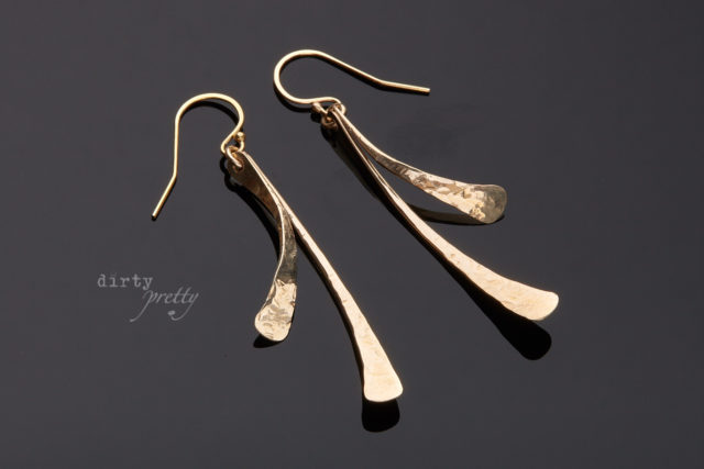 Gifts for Wife - Small Feather Gold Earrings by dirtypretty artwear - Anniversary gifts for wife