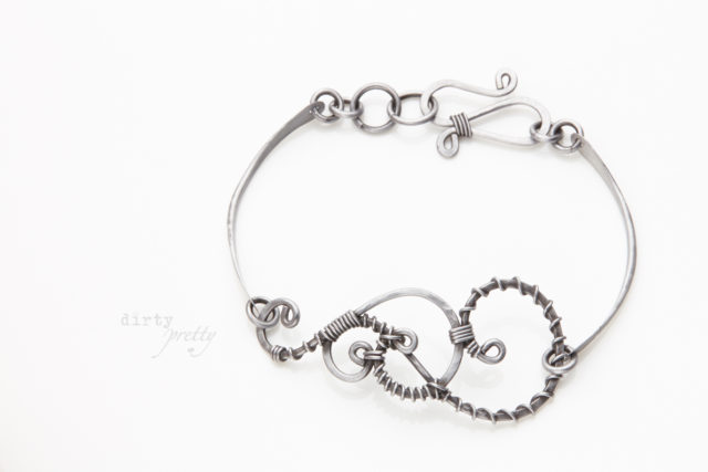 Christmas Gifts for Wife - Twisted Teardrop Steel Bracelet by dirtypretty artwear - rustic jewelry